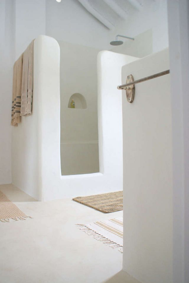 Above A Plaster Shower By Interior Designer Ana Fernandez At Cortijo El Canito Villa For Rent In Andalucia Through Nice2Stay