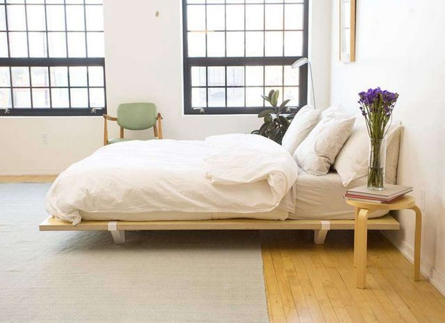 915f9d9352 Above: The Kickstarter-funded Floyd Bed Frame consists of three parts:  birch veneer wooden panels that slot together, steel supports, and  fastening straps.