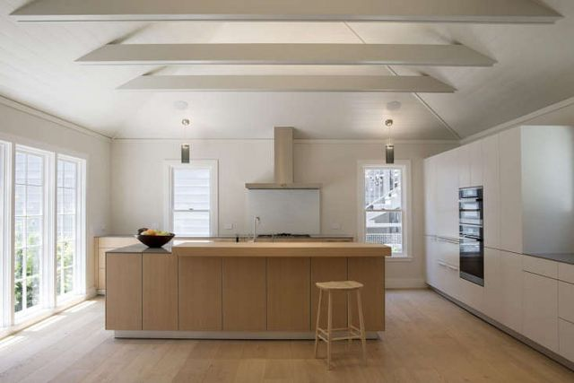 Above A Kitchen With Cathedral Ceilings And Shiplap Paneling In San Franciscos Filbert Cottages Reenvisioned By Buttrick See On The Market Historic