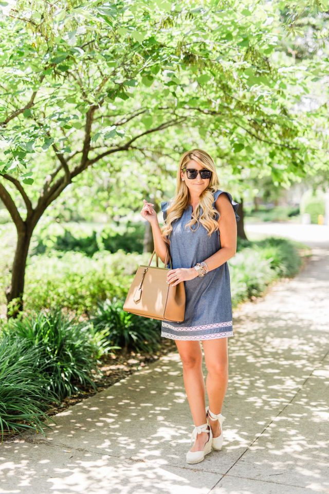 73fa334a1 Dress : Nordstrom Darby Ruffle Sleeve Babydoll Dress | Shoes : Soludos Tie  Up Wedge | Bag : Fendi 2Jours | Earrings : Bauble Bar Neverland Drops ...