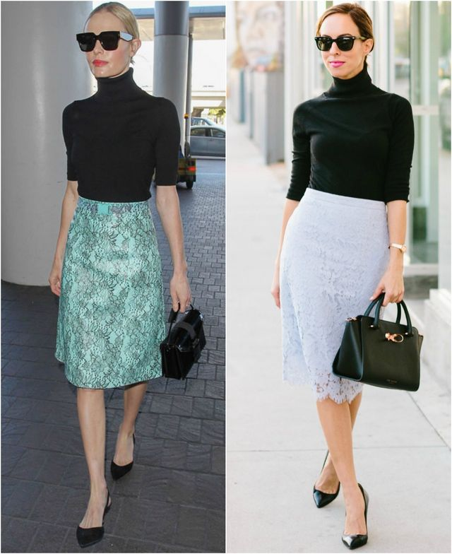 53930c55afa Inspired By: Kate Bosworth's Turtleneck and Lace Skirt   Sydne Style ...
