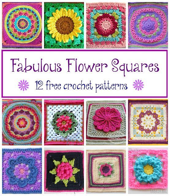 Fabulous Flower Squares! 12 Free Crochet Patterns... | Fiber Flux ...