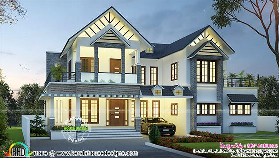 3057 sq ft european model house plan kerala home design for European style house plans