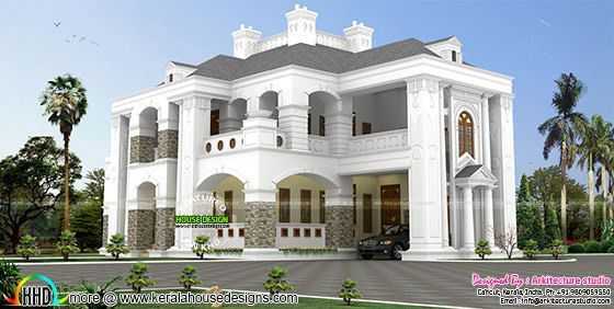 Bhk Colonial Style House Architecture Kerala Home Design