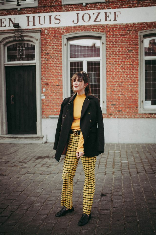 f37163cc23345 Outfit: yellow plaid trousers, military coat and loafers | The ...