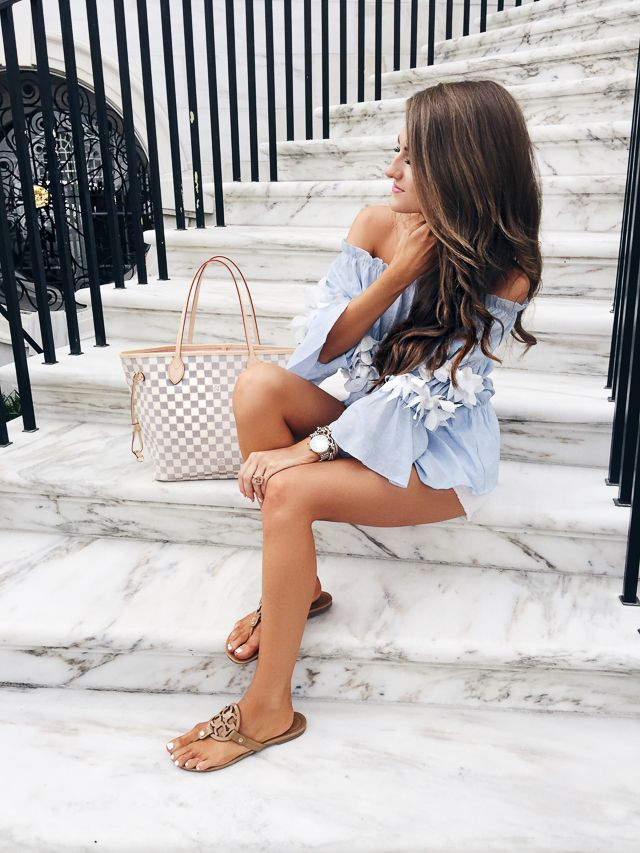 off shoulder top // white shorts // Tory Burch sandals in