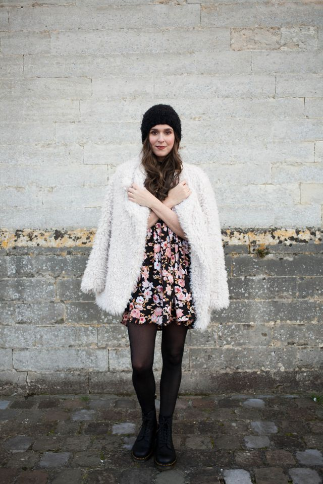 a225b74a0dd ... faux fur coat  Primark - floral dress  Forever21 - tights