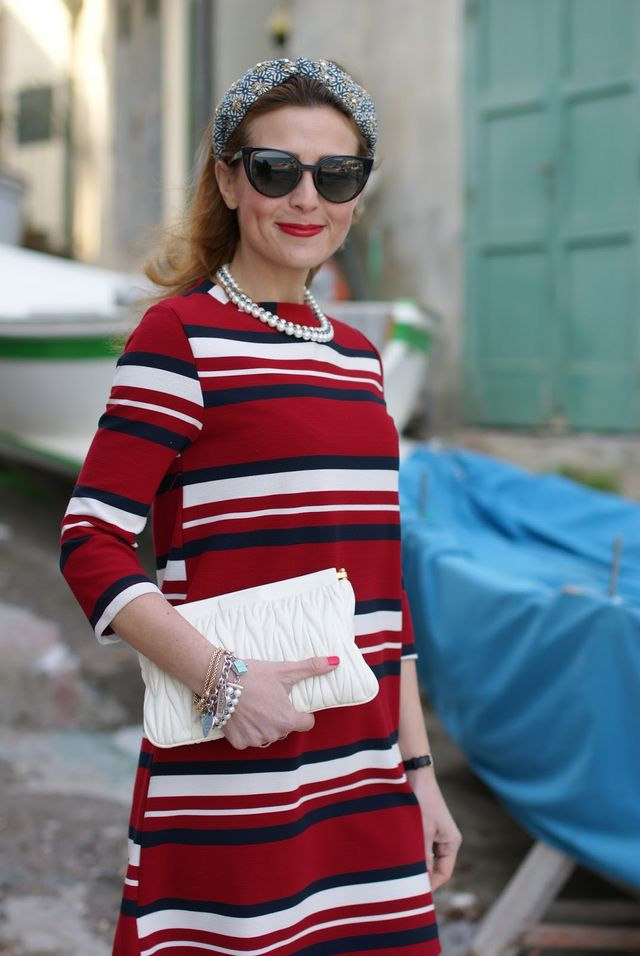 Vintage marine look  red striped dress  7c10f315620