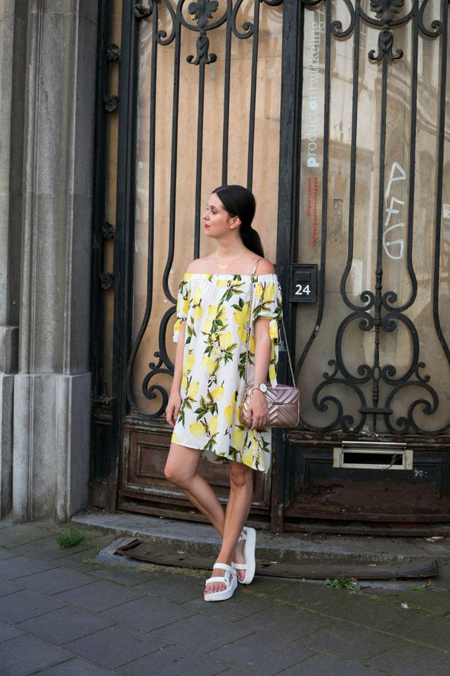 cf86bdb7cd1 Outfit  lemon print off shoulder dress
