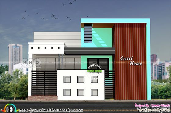 Design Provided By Sameer Visuals Tamilnadu India House Specification Total Area 1200 Sq Ft No Of Bedrooms 2 Floors 1