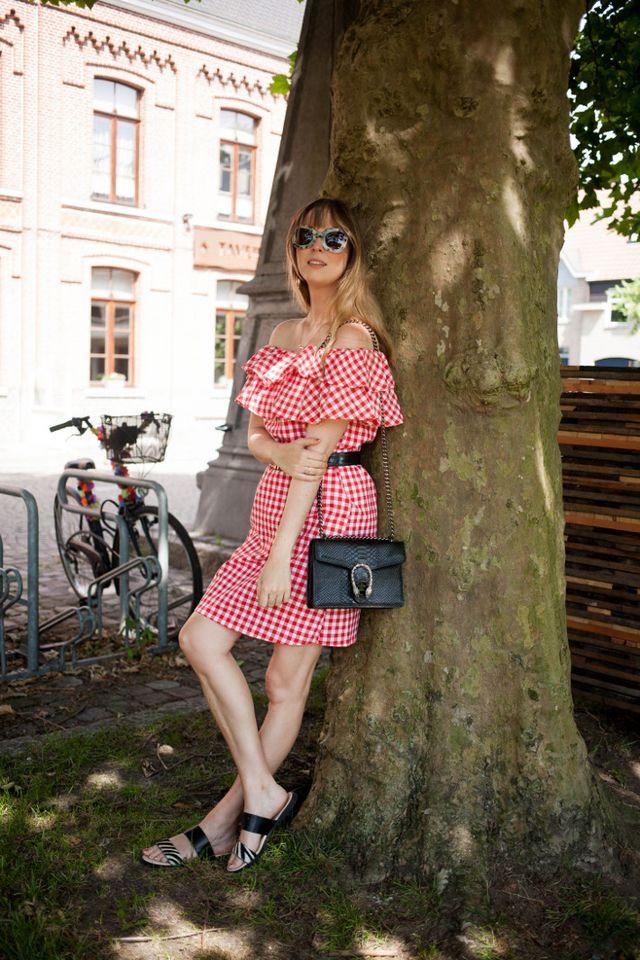 074ff6211424a gingham off shoulder dress: c/o Shein - Gucci Dionysus dupe handbag:  Sincerely Valentine - sandals: c/o Avance - sunglasses: c/o Polette -  Moschino belt: ...