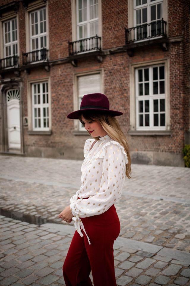 8c84ff1ed71 ruffled blouse  c o Shein - flared trousers  Forever21 - wide brim hat   Zalando - pink suede mules  c o RAS shoes - handbag  Kate Spade NY