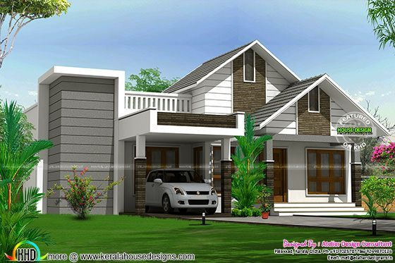 Cute Sloped Roof Home 3 Bedrooms In 1425 Sqft Kerala Home Design Bloglovin
