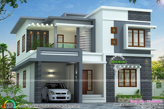 2767 Sq ft Flat Roof Style Home Kerala Design