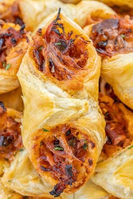 Pulled Pork Pastry Puffs - Football Friday | Plain Chicken ...