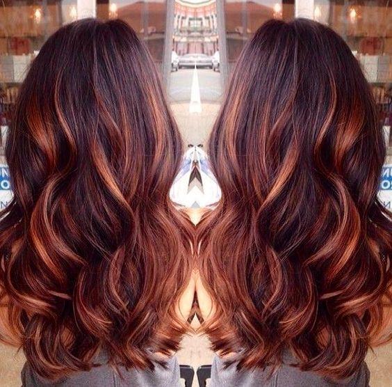 Red Highlights On Black Brown Blonde Hair Hairstyles Hair