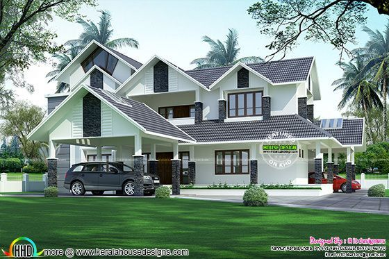 Luxurious 2 car porch house kerala home design bloglovin for Car porch designs for houses