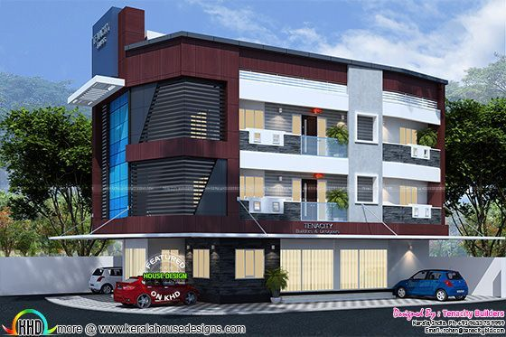 3f83df2564 Home with business space on ground floor | Kerala home design ...