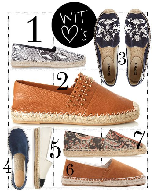 4398e684a8 3 Soludos £57 ASOS · 4 and 6 Suede £88 J.Crew · 5 Tory Burch Two-tone  leather espadrilles £175 · 7 Isabel Marant Étoile Cana printed canvas ...