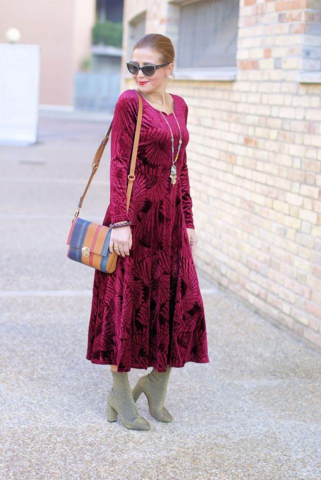 Red velvet maxi dress & sock boots: 70s vibes