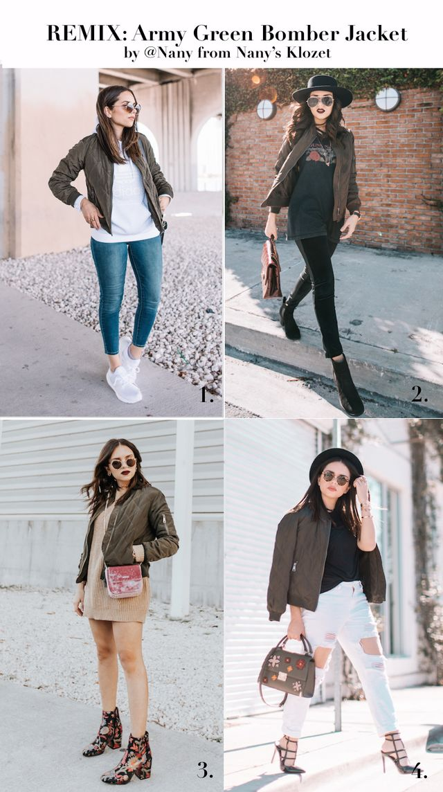 REMIX  4 ways to style an Army Green Bomber Jacket  a8f8a1544ba