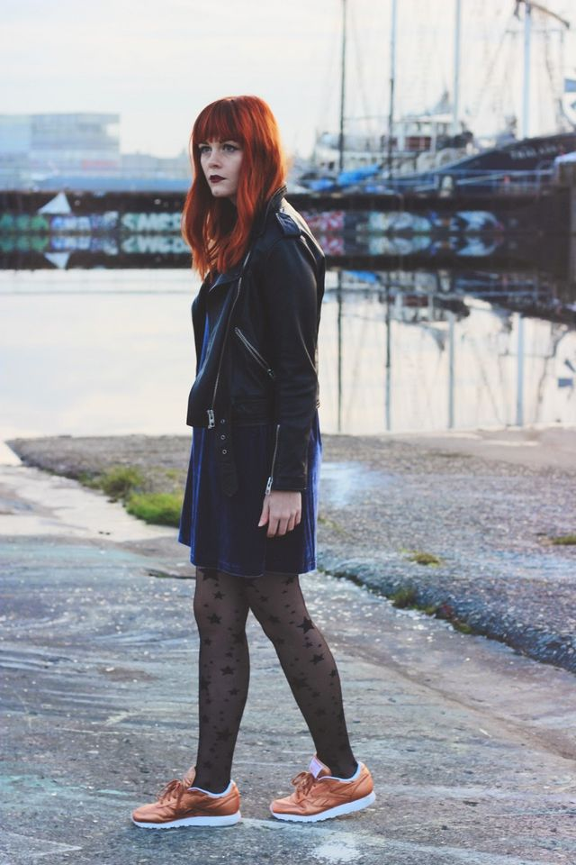 d066aa9f7d457 Dress*: La Redoute Leather Jacket*: AllSaints via John Lewis Tights:  Primark Reebok Classic Trainers: Urban Outfitters A couple of weeks ago I  returned from ...