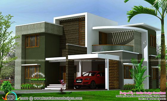 2400 sq ft contemporary box type house kerala home for Modern box type house design