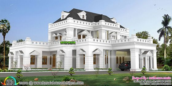 Home colonial 5950 square feet kerala home design for Colonial type houses in kerala