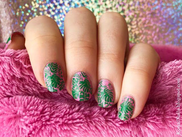 Sweet pink and green tropical manicure | Konad Addict | Bloglovin\'