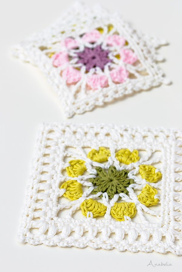 2 Crochet Flower Squares plus Flowers Tablecloth | Anabelia Craft ...