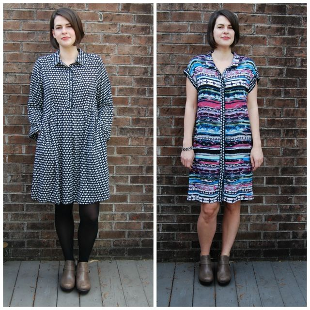 b2b3070f7 Both of these shirt dresses were made a long time ago. Approximately six  months or so ago in the summer. These were the last two big projects I was  working ...