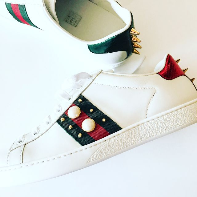 b436132272cf3 I feel like I am gushing about all these shoes but I genuinely love them  all!! These Gucci trainers are just amazing-I love the pearl and spike  detailing ...