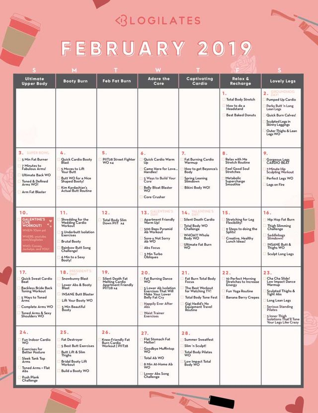 Your February Workout Calendar! | Blogilates: Fitness, Food, and