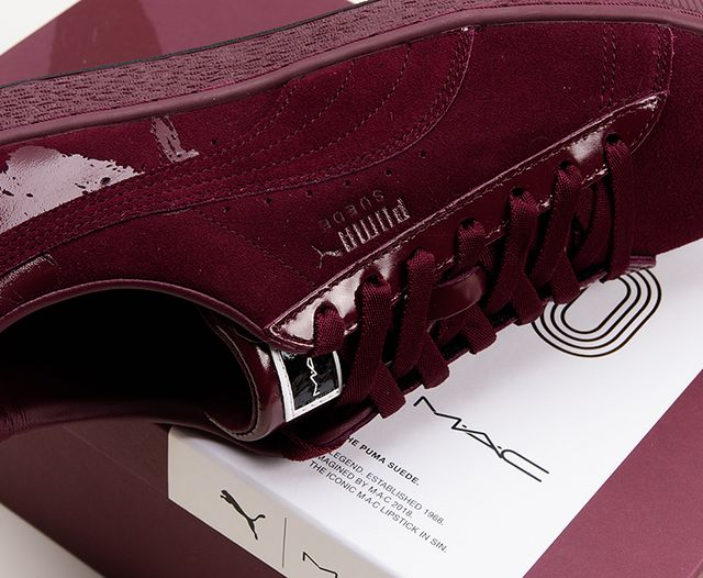 57492358cd5 MAC x PUMA Suede 50 Sneakers in Crème d'Nude & Sin Photos ...