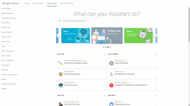 New Website for Google Assistant Shows Off All Available Actions and
