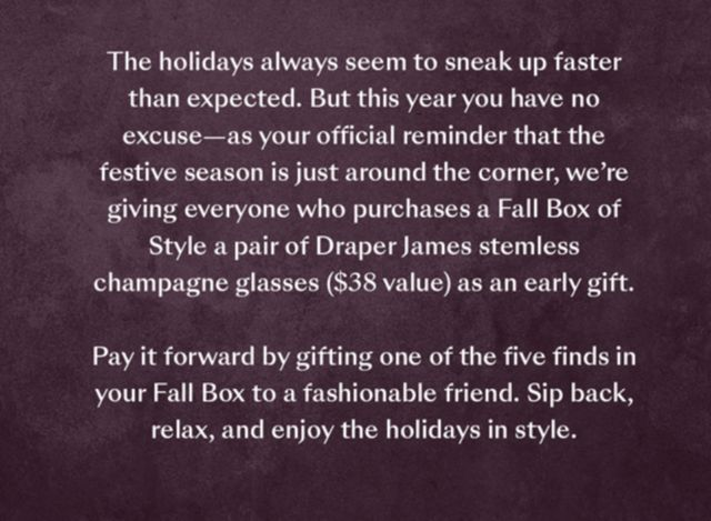 84d4d36aa27 Box of Style Flash Sale – Draper James Champagne Glasses With ...