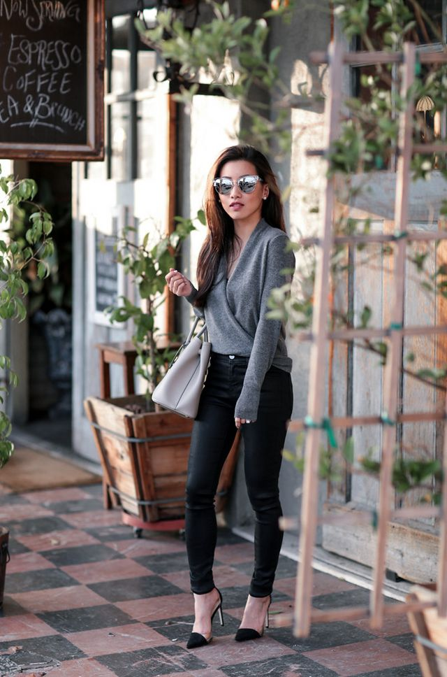 70812b72bb5 Cashmere wrap sweater + coated skinny jeans