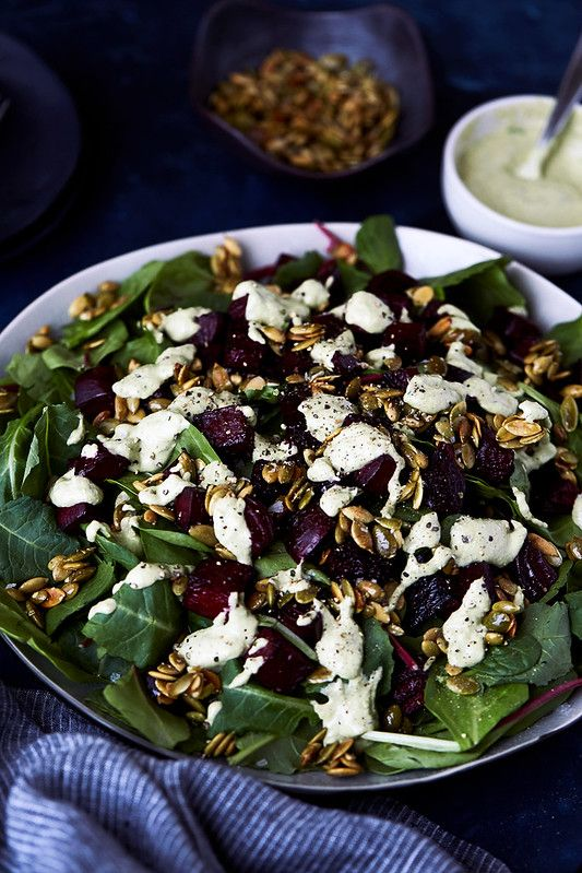 Kale Salad with Balsamic Roasted Beets, Horseradish Tahini ...