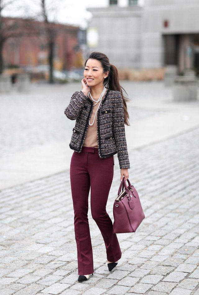b3e5d18400e Halogen cashmere sweater xxsp, WHBM skinny bootcut pants 00p c/o old tweed  jacket (similar in petite), Tory Burch Robinson bag (current version), Zara  heels