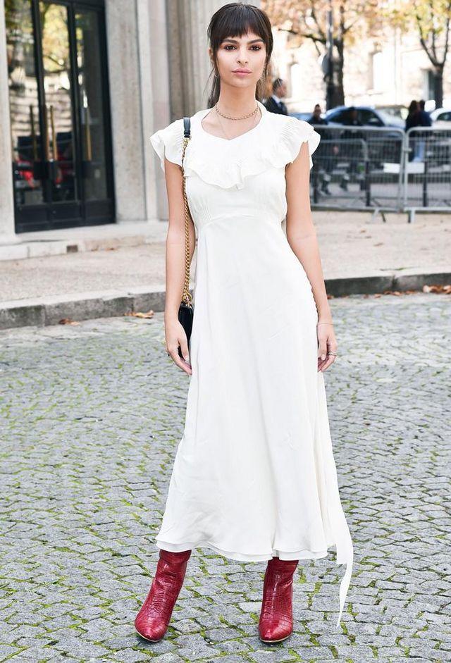 55d19bead939 On Emily Ratajkowski: Miu Miu dress; Esquivel x Brock Collection boots