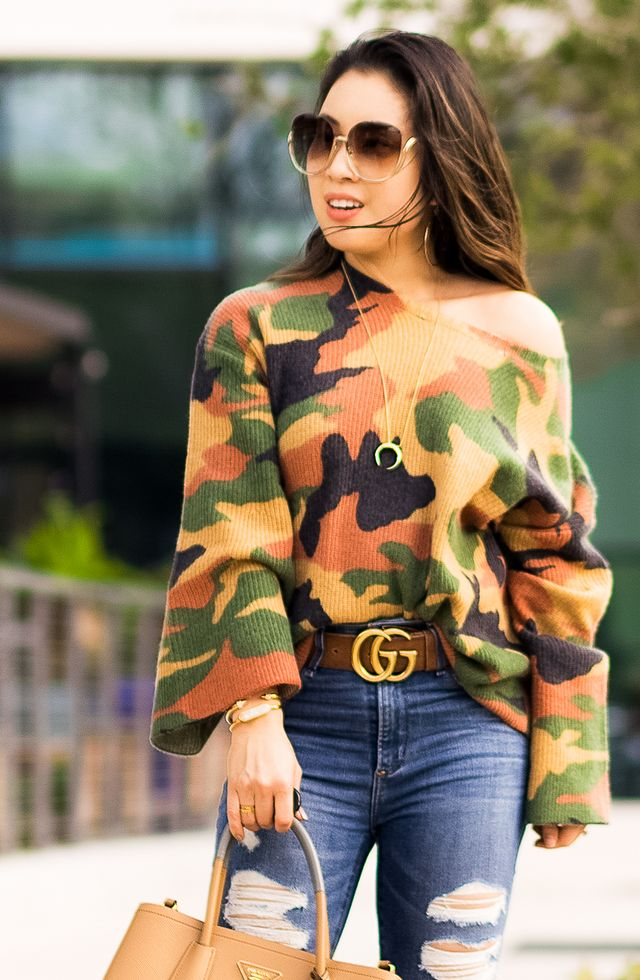 6b46c45fb5e6c Outfit Quickie: Camo Sweater | cute & little | Bloglovin'