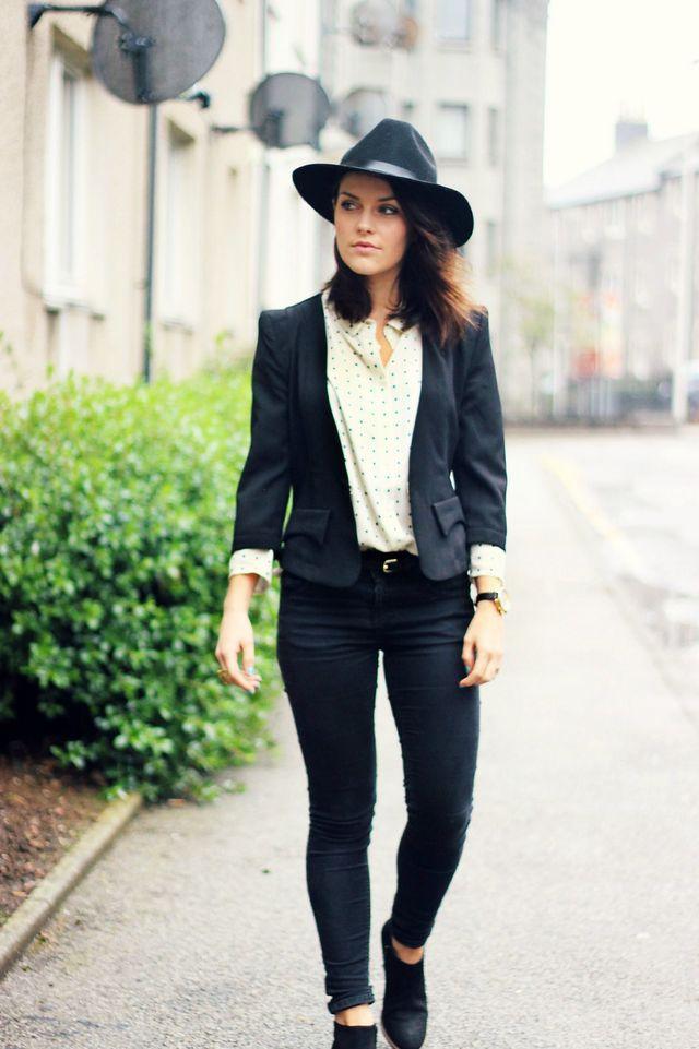1344749d Jigsaw polka dot shirt, leopard print ponyhair belt and ankle boots | Miss  Selfridge skinny jeans | New Look blazer (old; similar and similar)