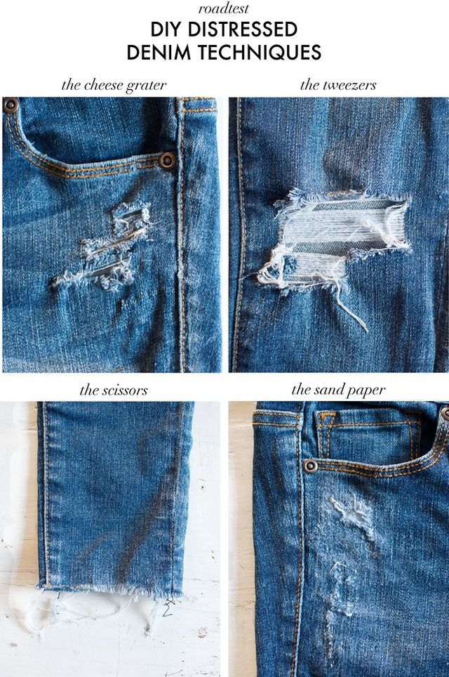 DIY DISTRESSED DENIM TECHNIQUES ROAD TESTED | a pair & a ...