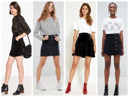 Las minifaldas de color negro serán perfectos para añadir un pequeño toque  seductor a tus estilismos de invierno. Para looks casual llévalas con unas  medias ... 207d9df2fc5b