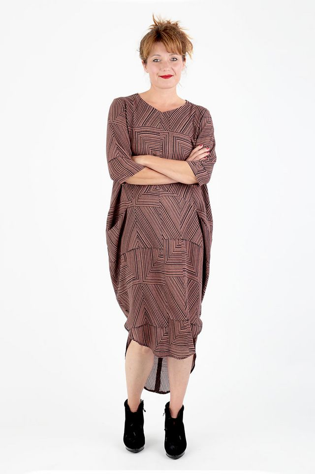 9f13befcc1 I was super excited to see Schnittchen release another pattern in their  extended sizing. Trine is a cocoon style dress and this shape has become  really ...