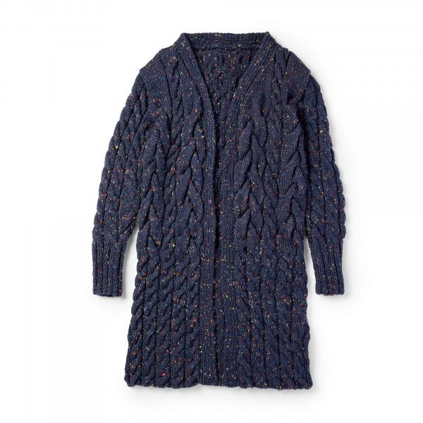 Stitch A Classic Cabled Coat With Tweed Yarn Knitting