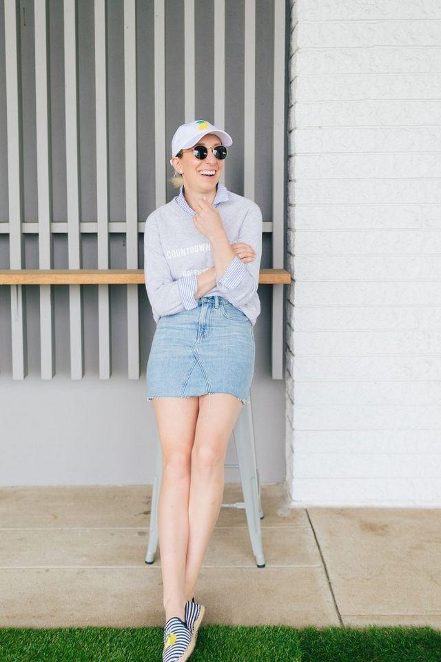 5d4b5b80d3 Everlane Denim Skirt 3 Ways | Lemon Stripes | Bloglovin'