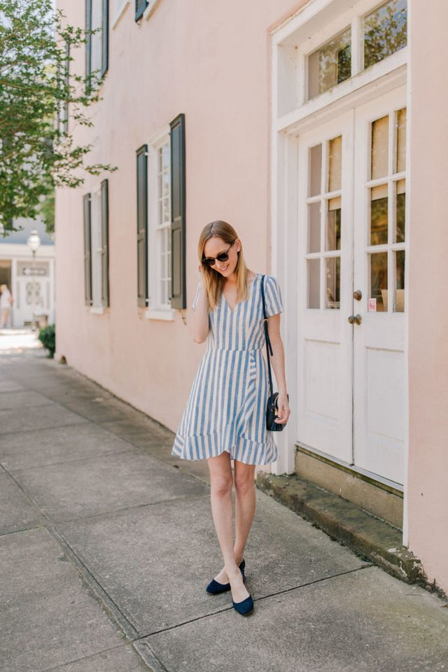 43b275e649b5 Striped Dress (Consider going up a size if you prefer a little extra room  in the shoulders! Here's the chambray version.) / Navy Crossbody c/o / Navy  Pumps