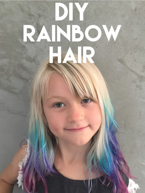 DIY: get ombre hair with rainbow tips at home (cute color for girls ...