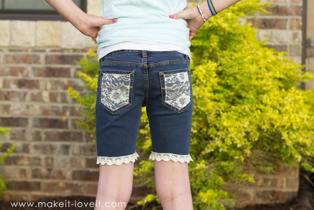 07ad5a4d1487 How To Turn Jeans Into Shorts (…with lace, trim, and embellishments ...